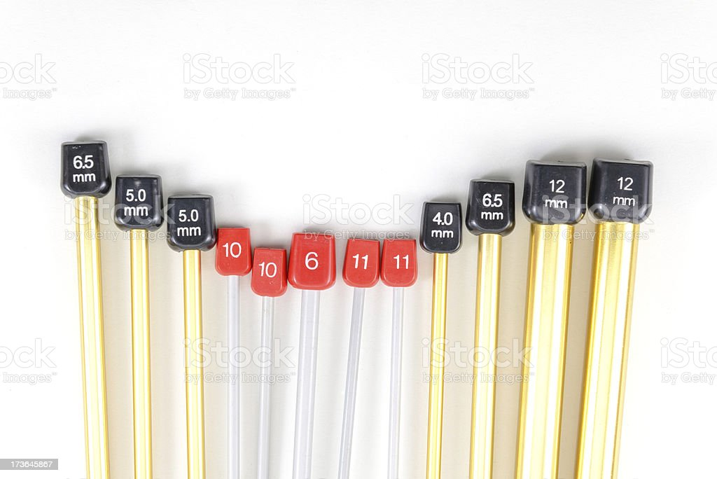 aluminum knitting needles stock photo