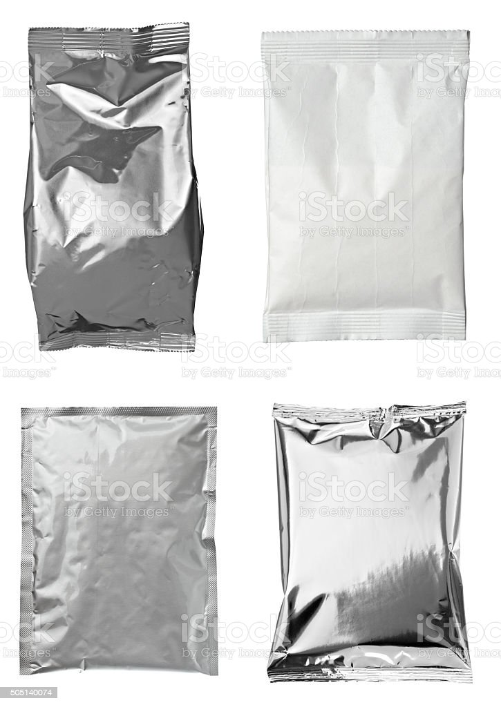 aluminum metal bag package stock photo