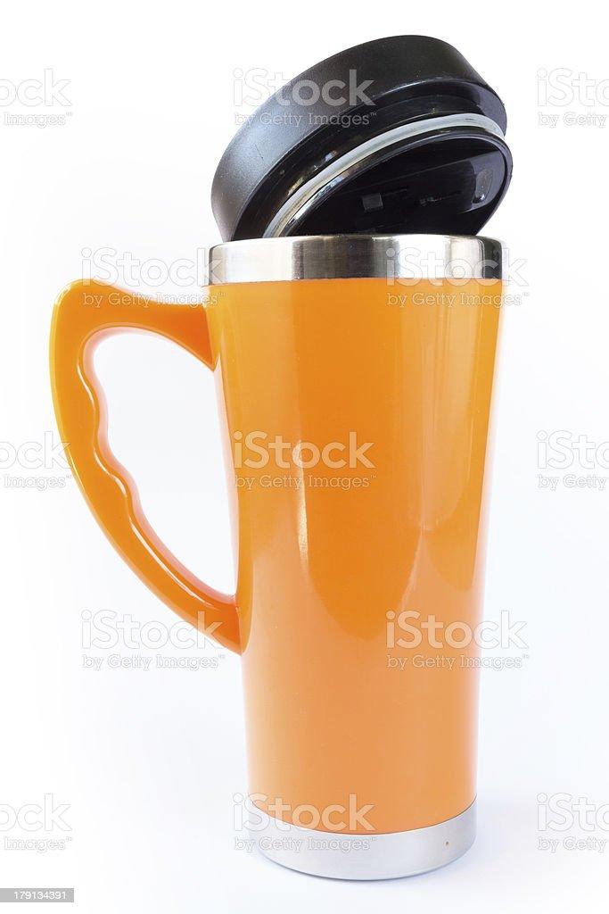 aluminum orange mug stock photo