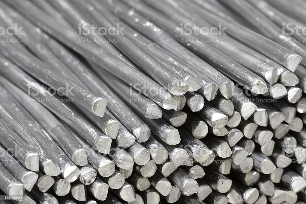 Aluminum raw sticks cut in pieces royalty-free stock photo
