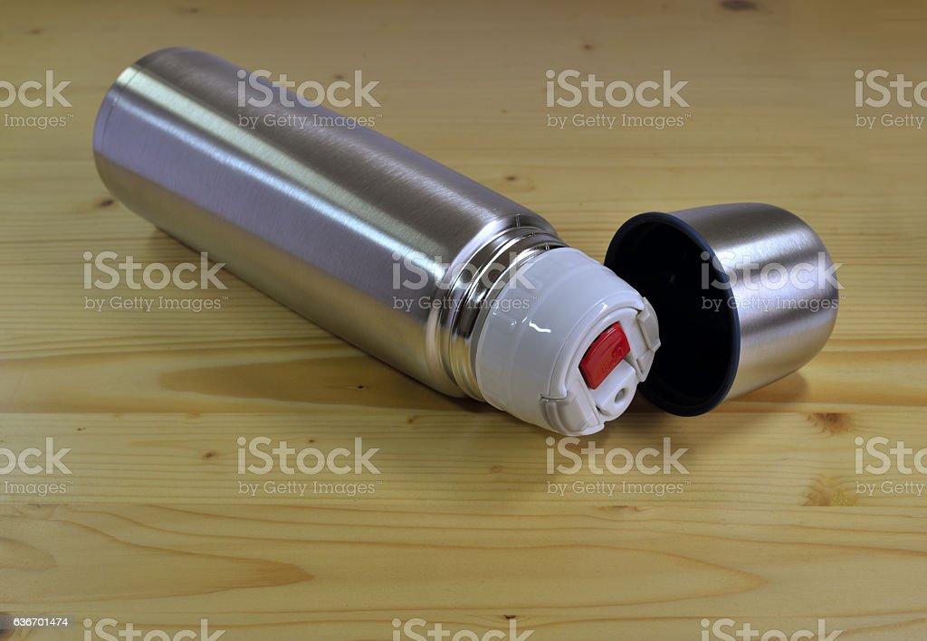 Aluminum reusable water bottle stock photo