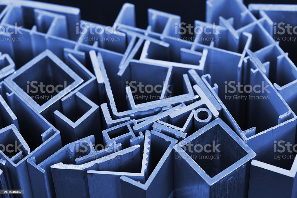 aluminum sectional strips stock photo
