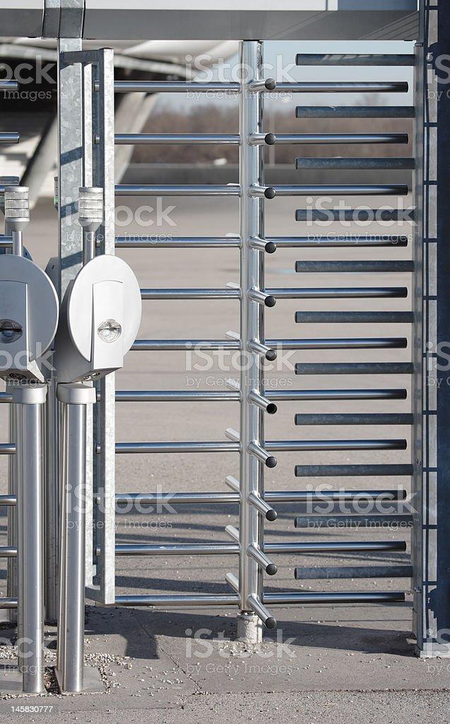 aluminum security turnstile stock photo
