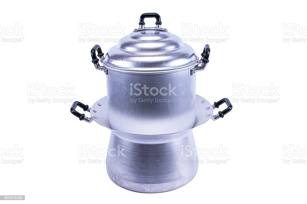 Aluminum steamer pan isolated on white background stock photo