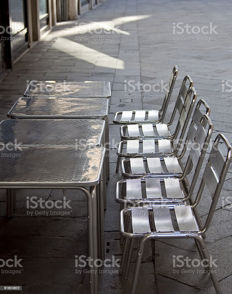 Aluminum Table and Chairs royalty-free stock photo