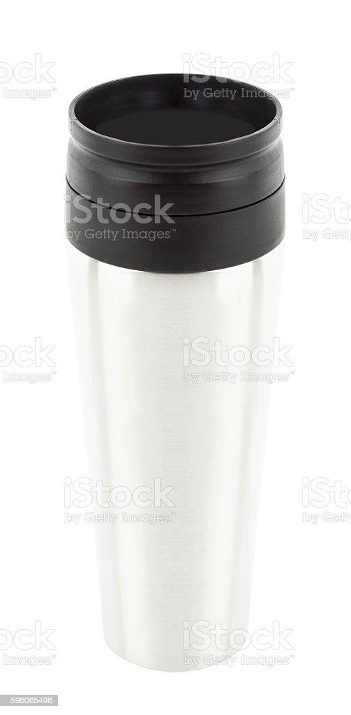 Aluminum thermos mug isolated stock photo