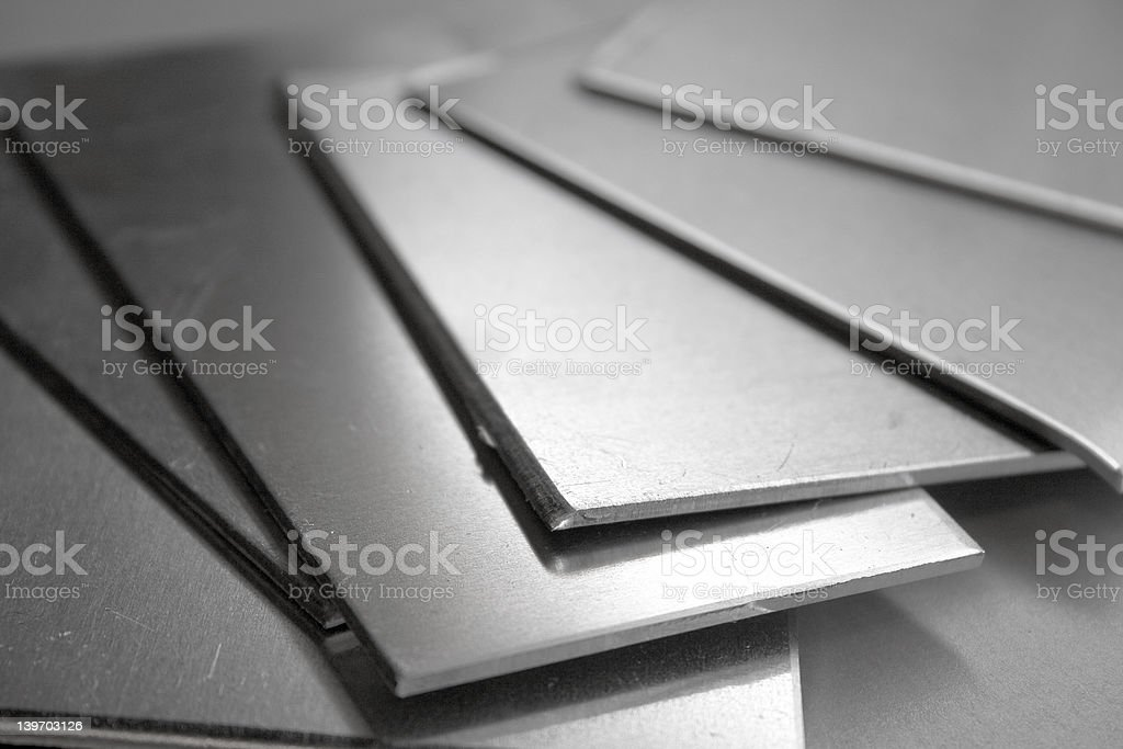 Aluminum thin rectangular plates royalty-free stock photo