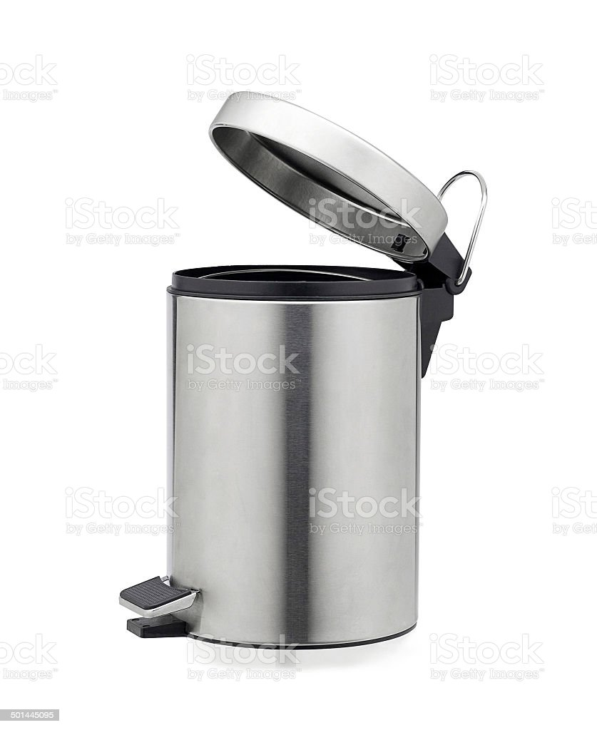 Aluminum trash can isolated stock photo