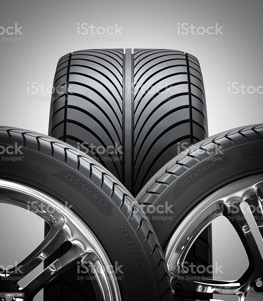 Aluminum wheels with tires image. Alloy rim for car. stock photo