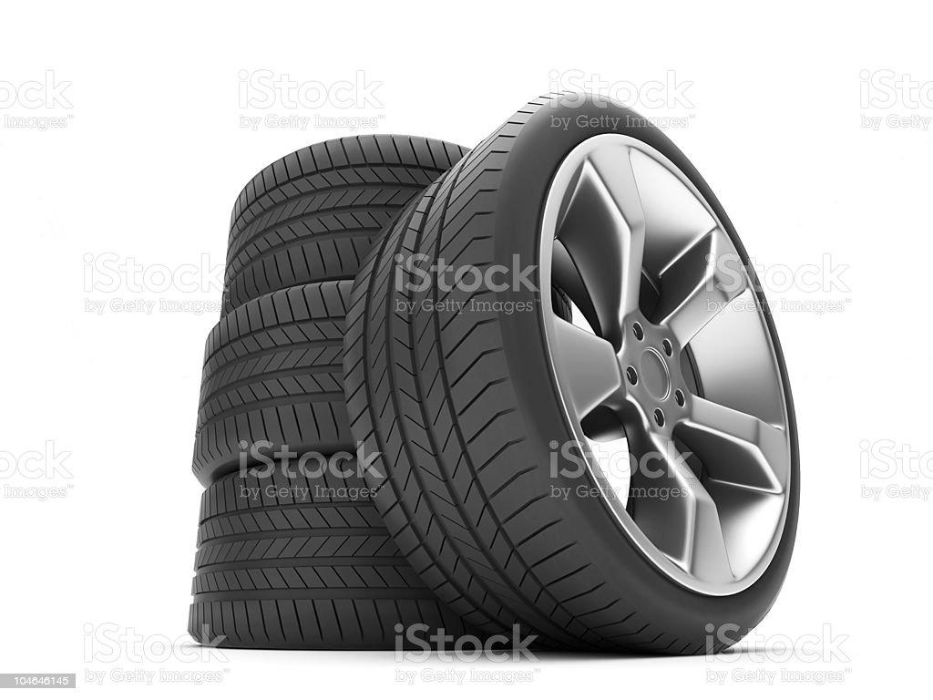Aluminum wheels with tires stock photo
