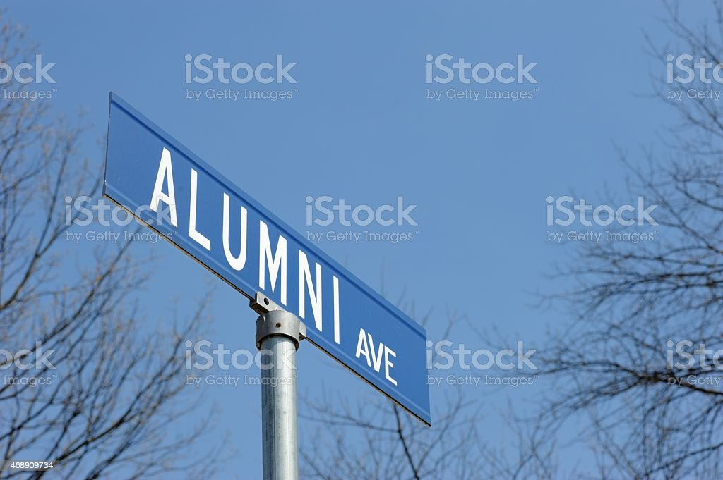 Alumni avenue street sign stock photo