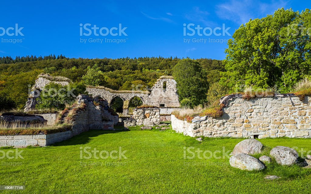 Alvastra Abbey during early autumn in Sweden stock photo