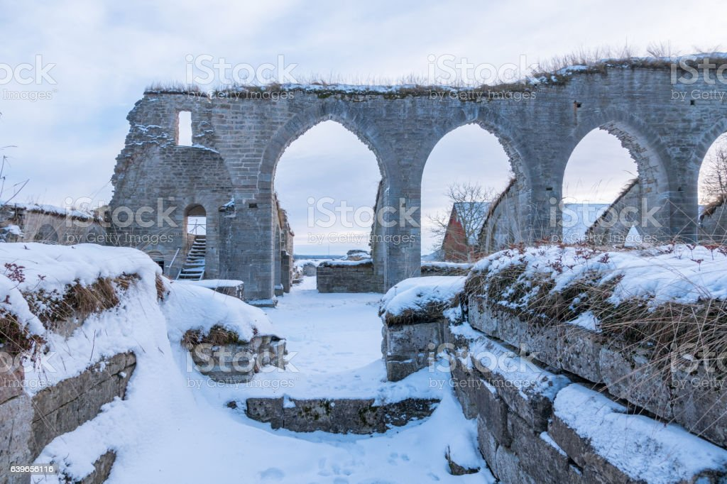 Alvastra Monastery ruins with arches intact stock photo