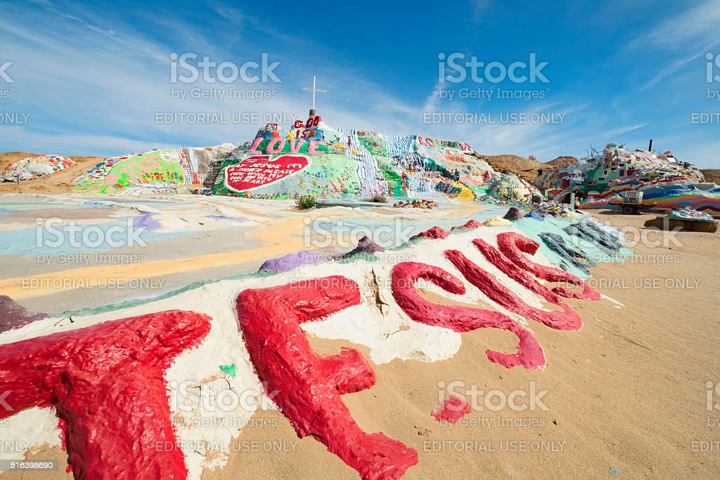 alvation Mountain California with Jesus Written in Foreground stock photo