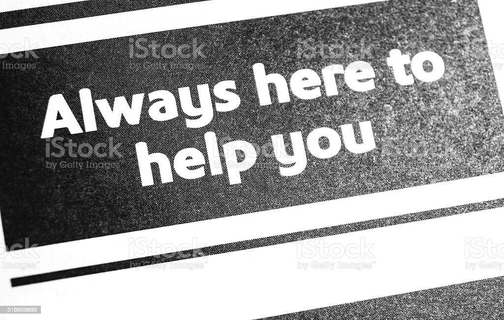 Always here to help stock photo