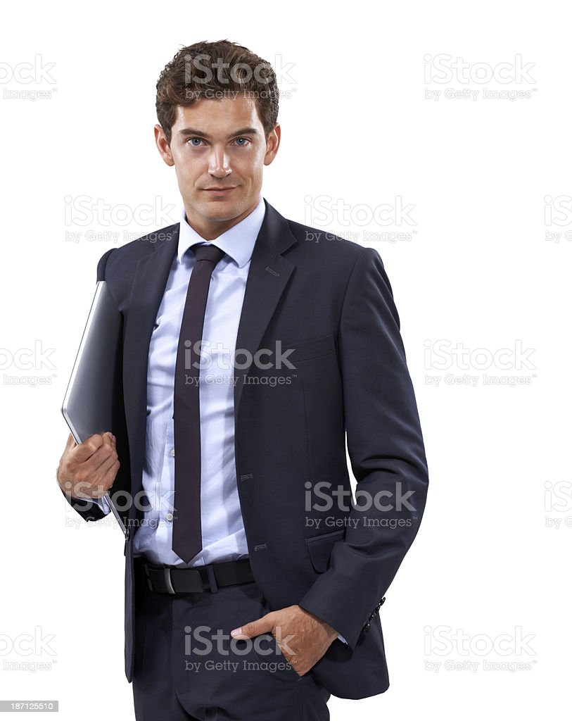 Always prepared with his laptop on hand royalty-free stock photo