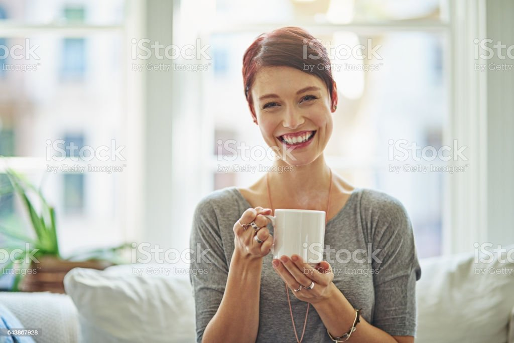 I always start my day with a fresh cup of coffee stock photo