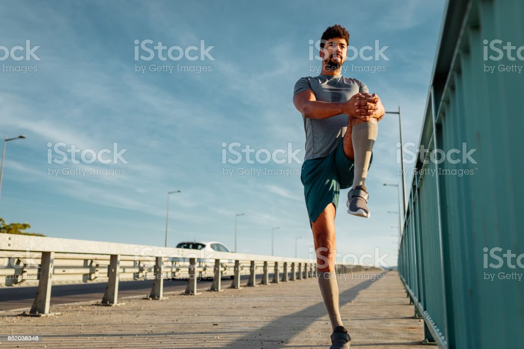 Always stretch before a workout stock photo
