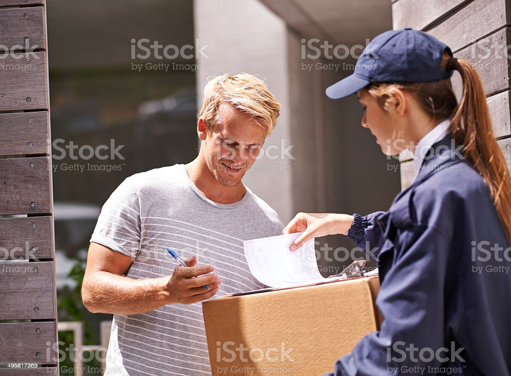 I always use their delivery service stock photo