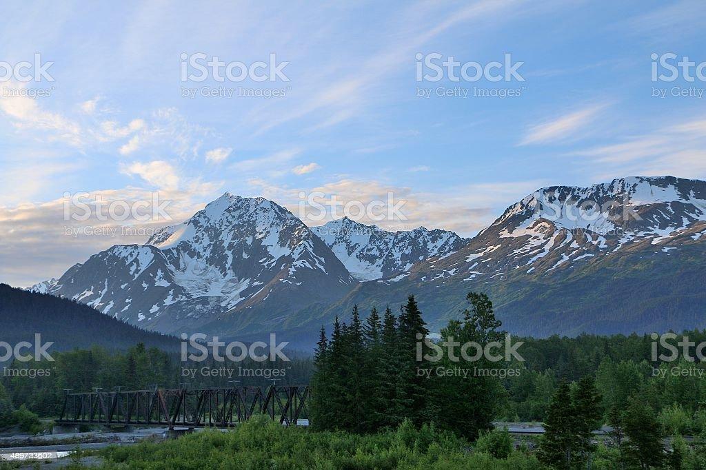 Alyeska morning stock photo