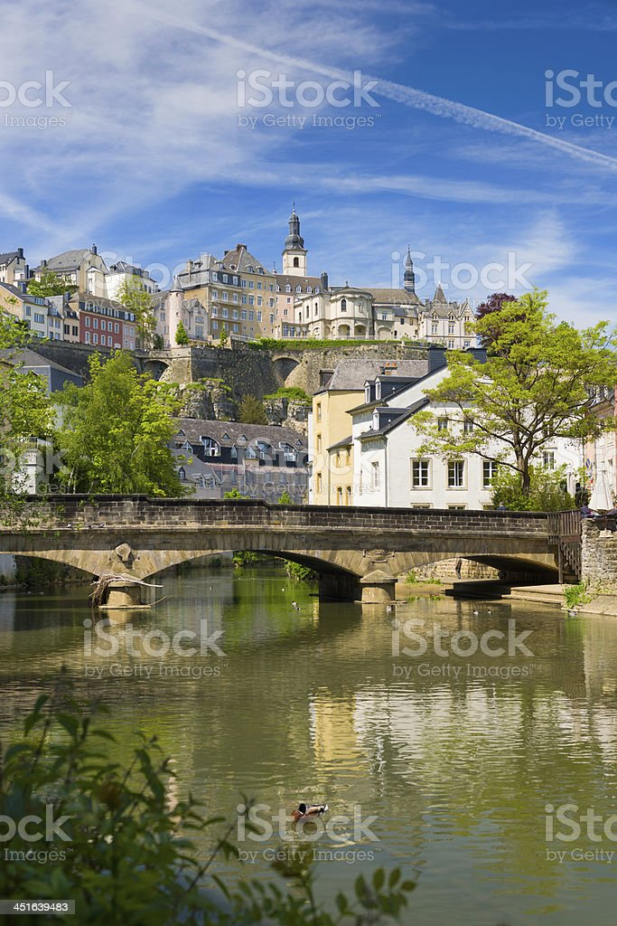 Alzette river in Luxembourg stock photo