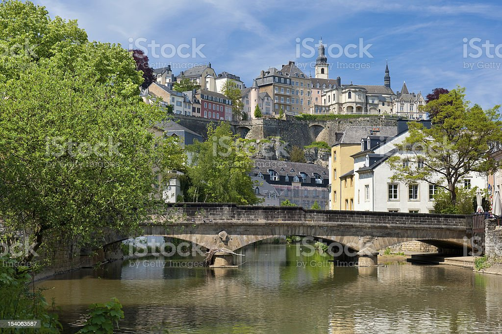 Alzette river in the Grund, Luxembourg stock photo
