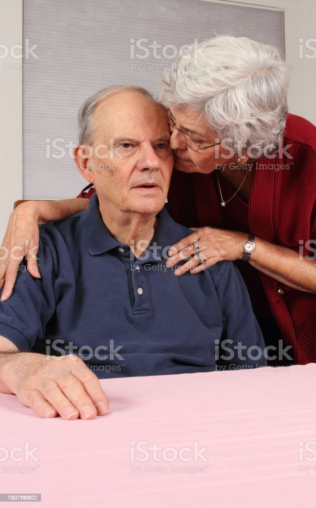 Alzheimer's Man With Wife at His Side royalty-free stock photo