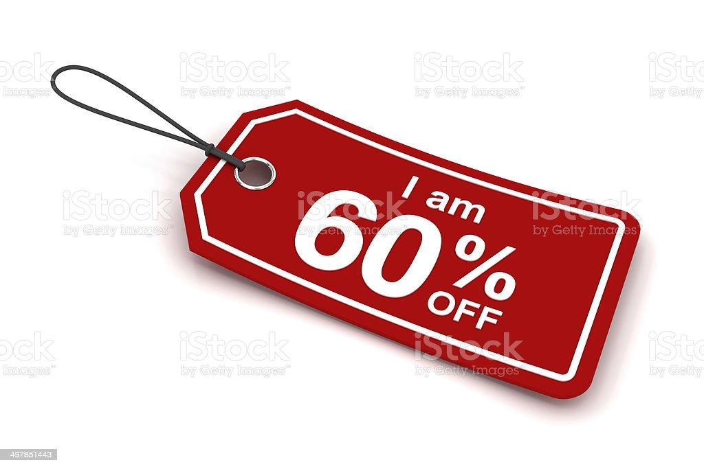 I am 60% off sale tag, 3d render stock photo