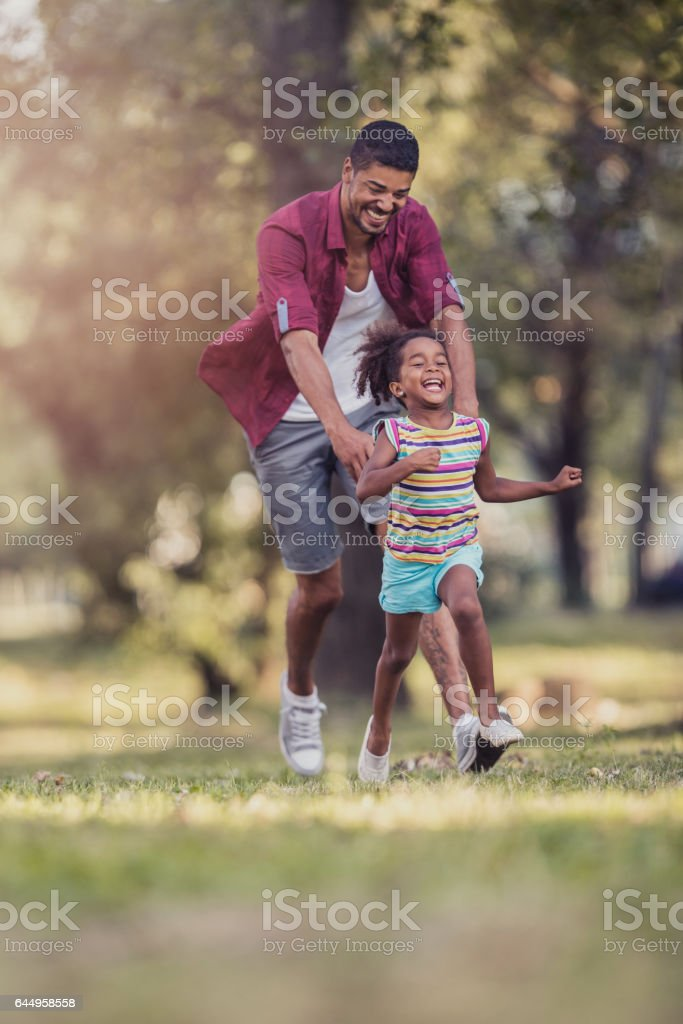 I am going to catch you! stock photo