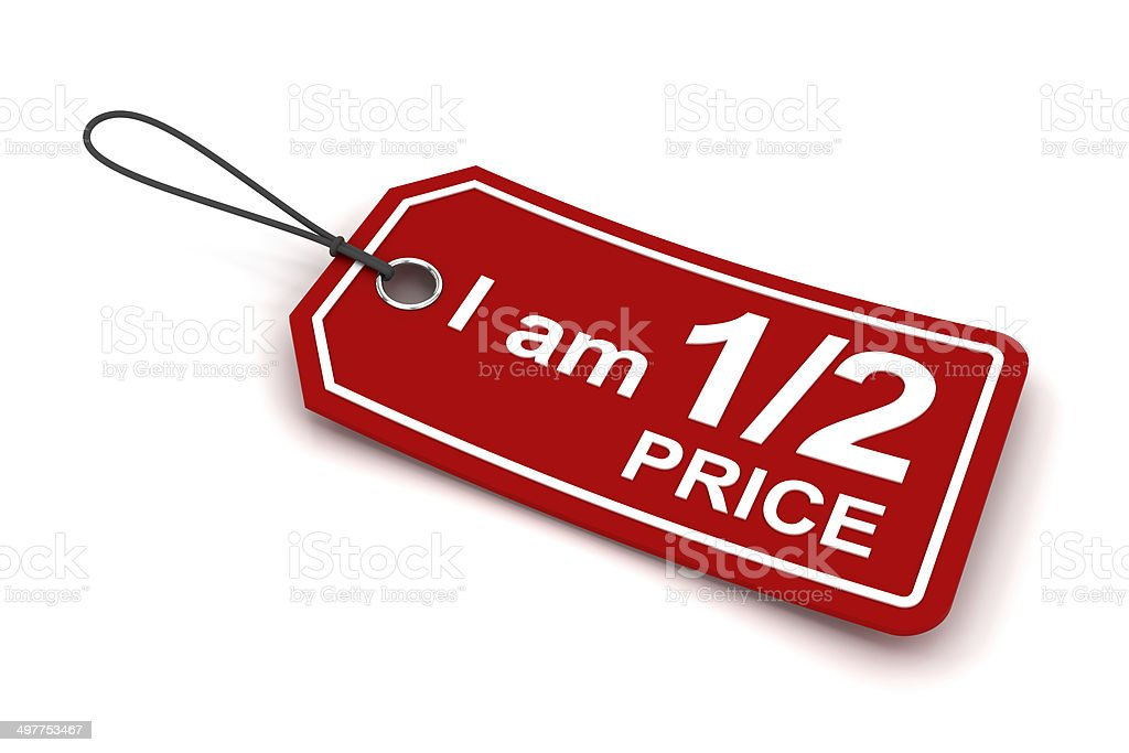 I am half price tag, 3d render stock photo