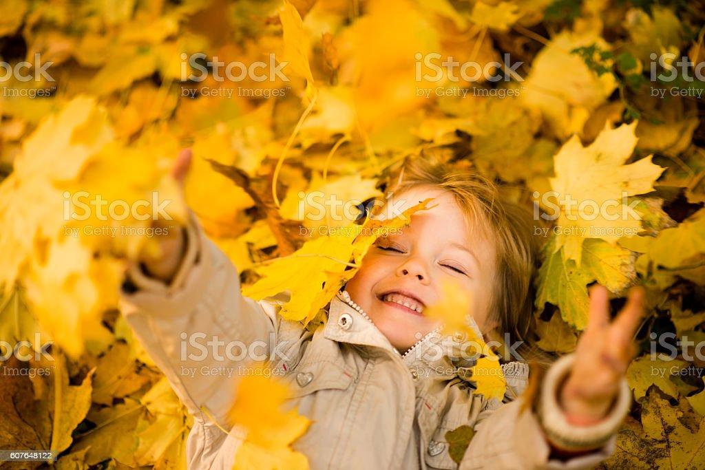 I am happy it is autumn stock photo