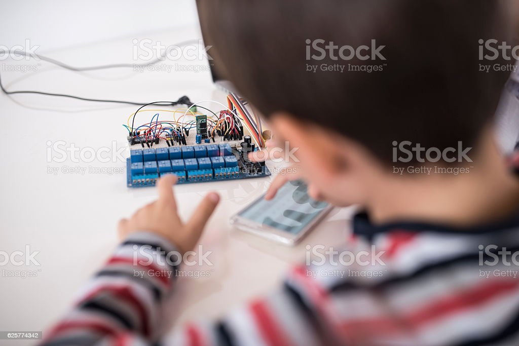 Am I doing this right dad? stock photo