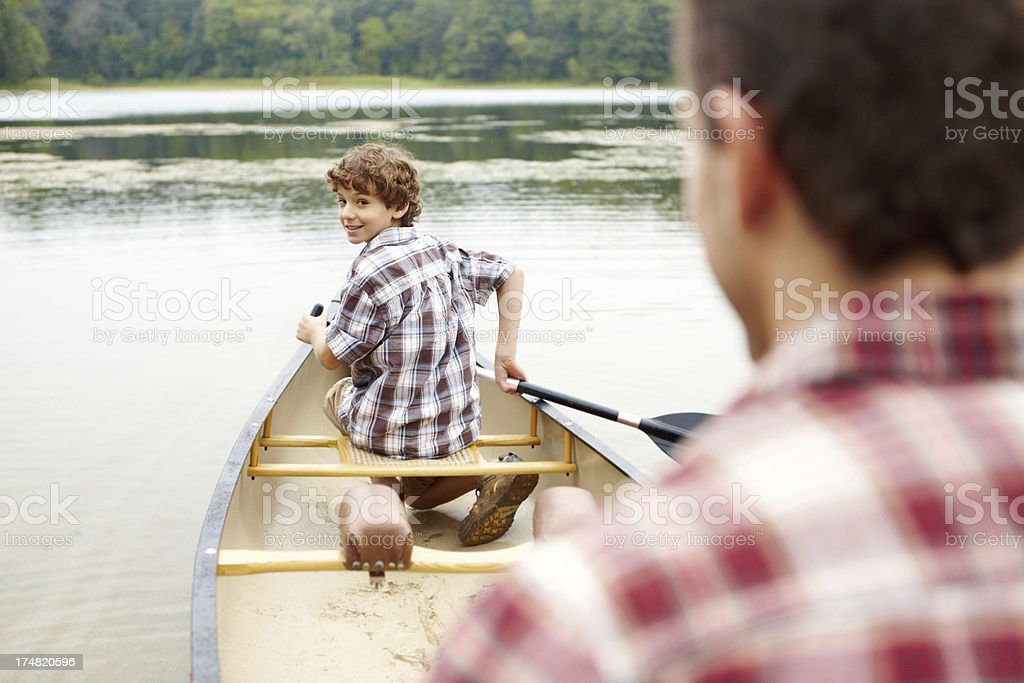 Am I paddling alright, dad? royalty-free stock photo
