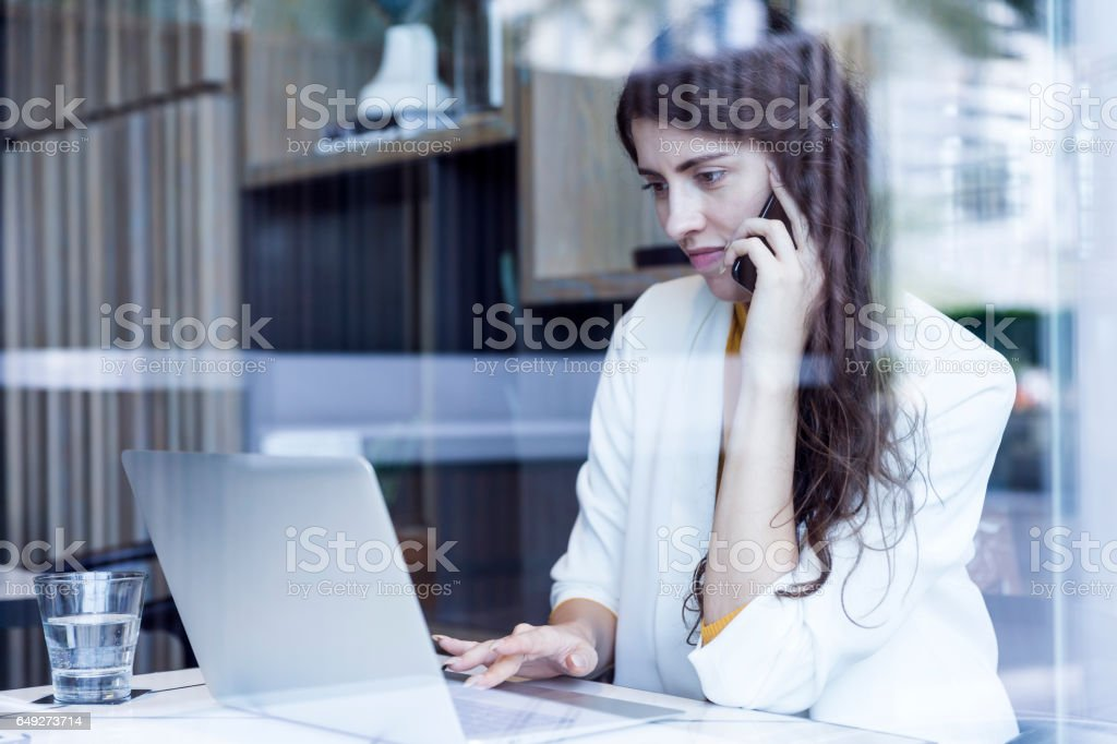 I am making the final changes to our presentation. stock photo