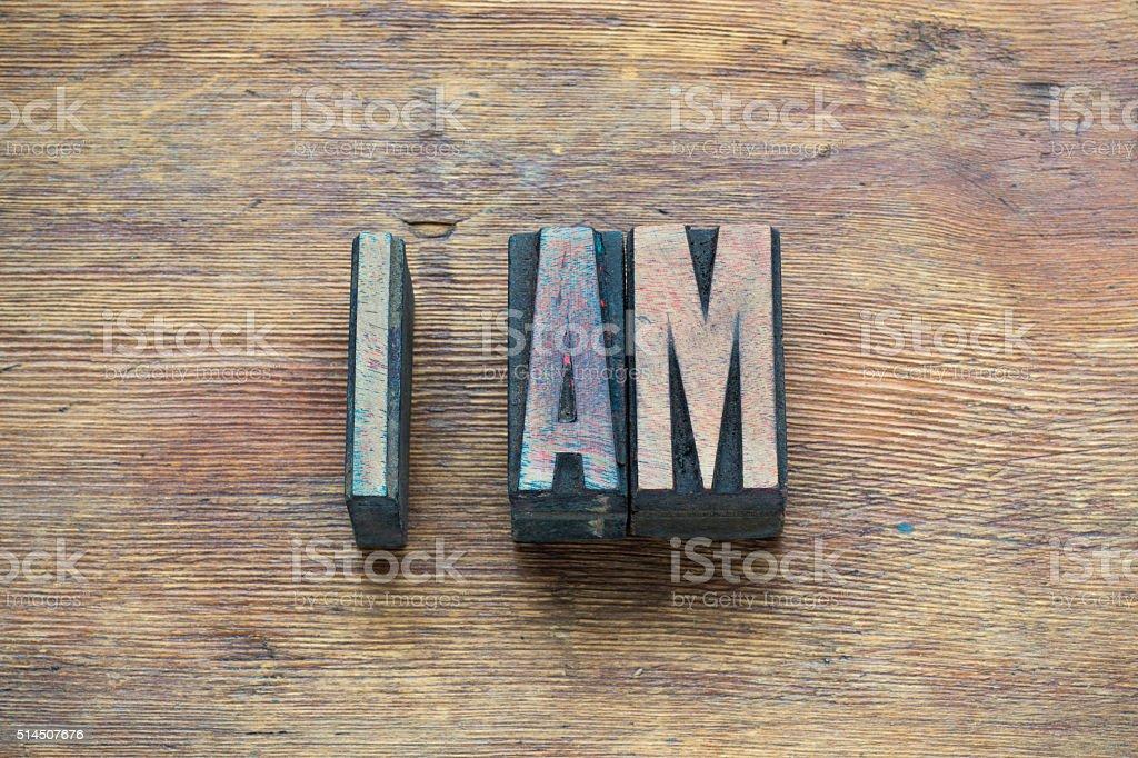 I am phrase wood stock photo