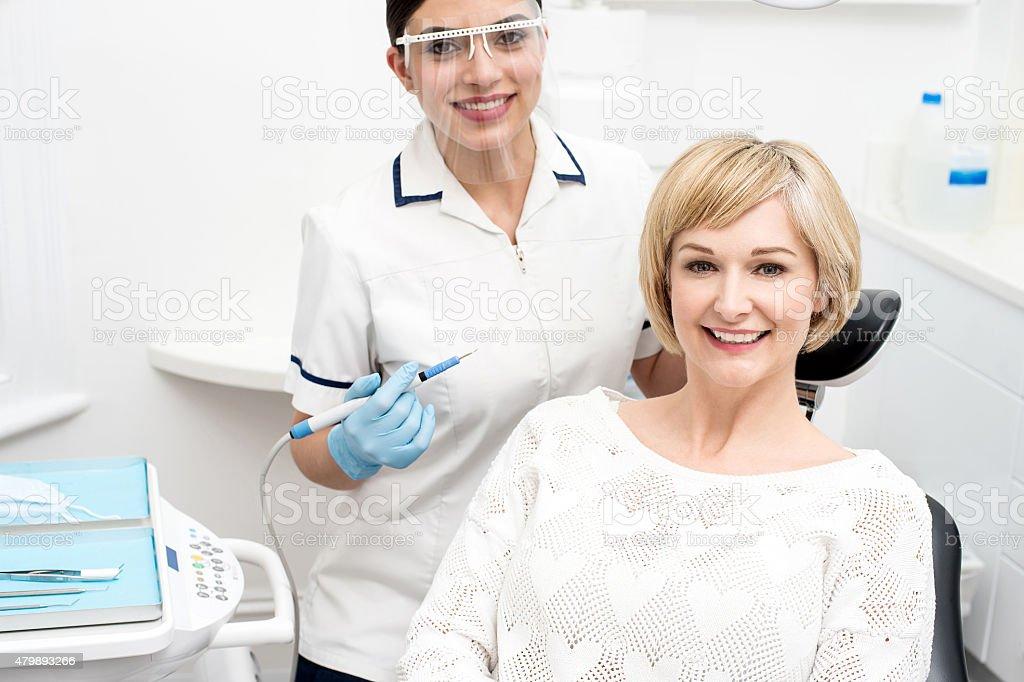I am ready for dental  examine. stock photo