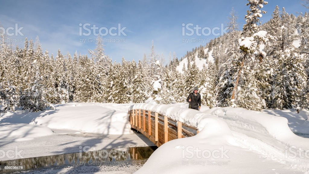 I am skiing across Little Redfish creek stock photo