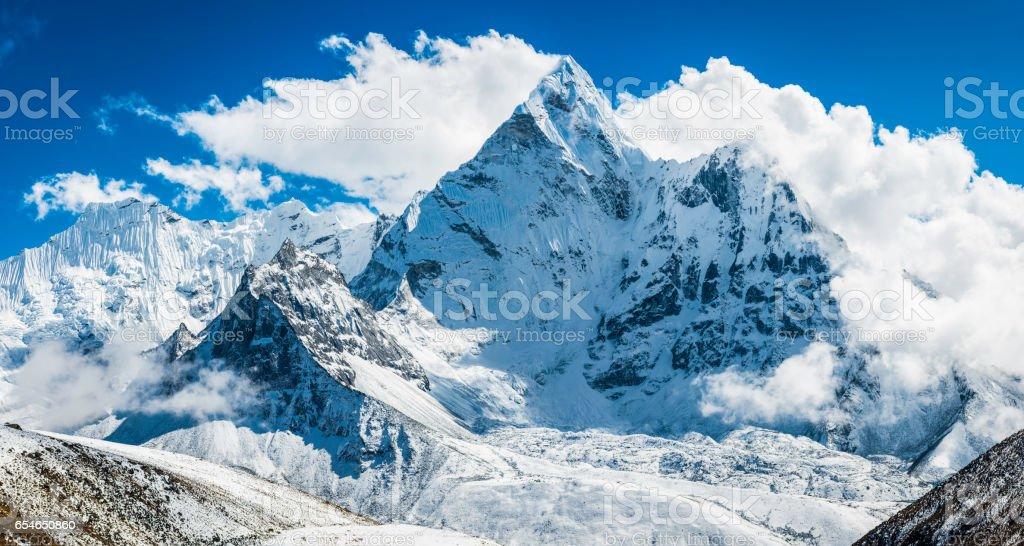 Ama Dablam 6812m iconic Himalayan mountain peak panorama Khumbu Nepal stock photo