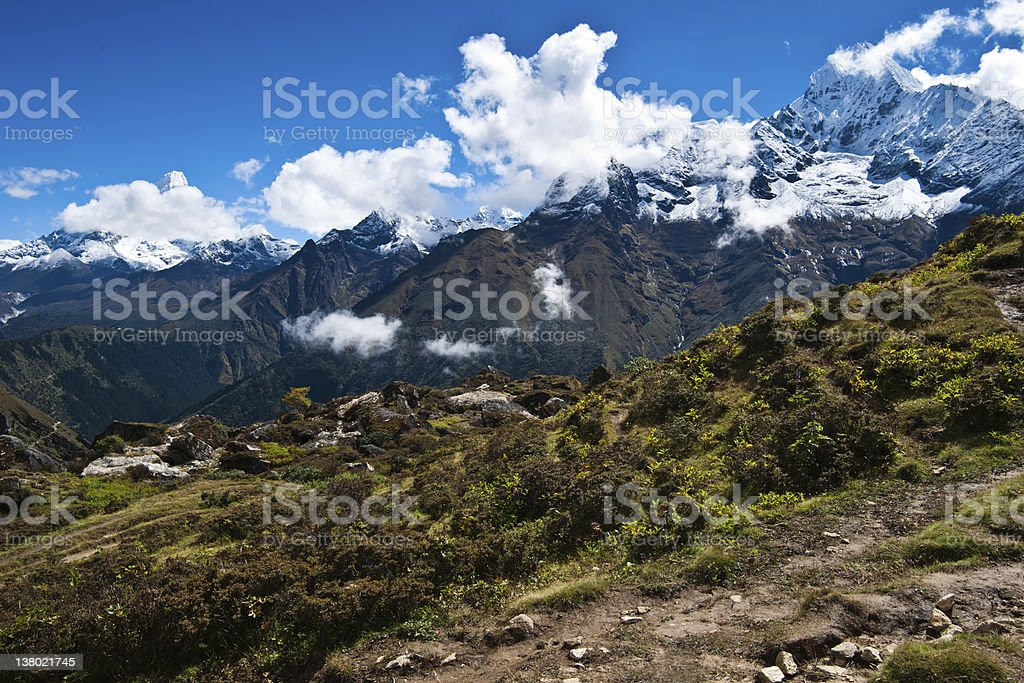 Ama Dablam and Thamserku peaks: Himalaya landscape stock photo