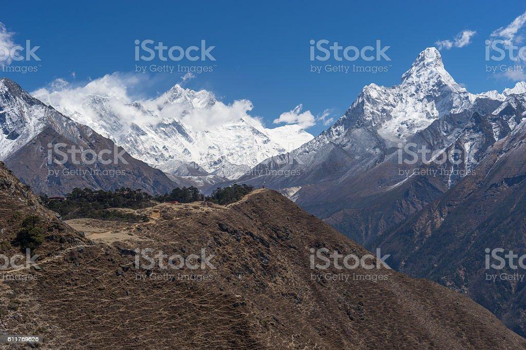 Ama Dablam, Lhotse and Everest mountain, Namche Bazaar stock photo