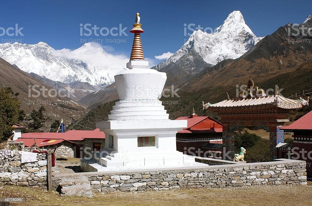 Ama Dablam Lhotse and top of Everest from Tengboche royalty-free stock photo