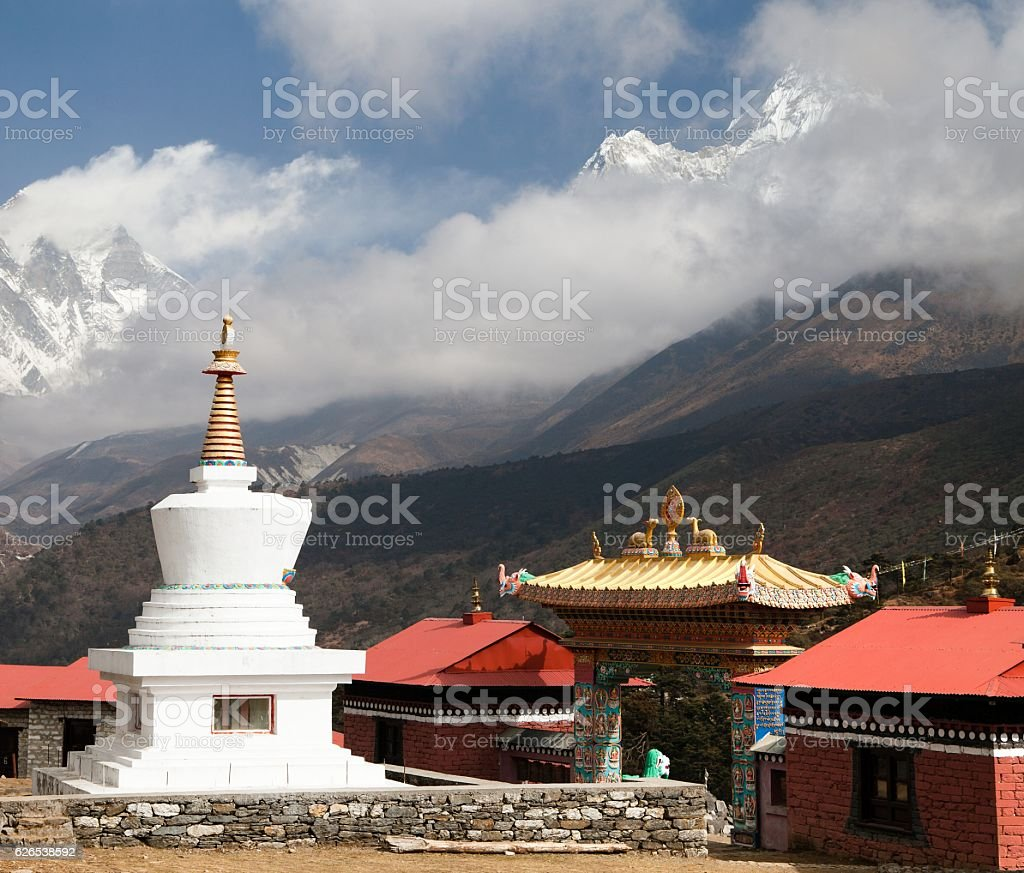 Ama Dablam Lhotse and top of Everest from Tengboche stock photo