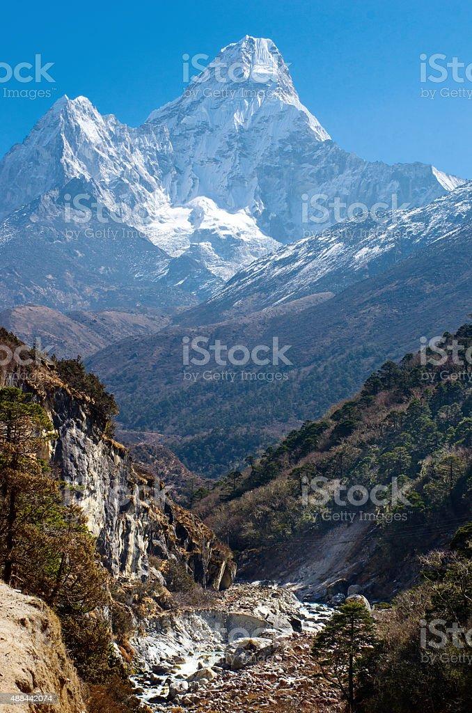 Ama Dablam massif , Nepal Himalayas stock photo