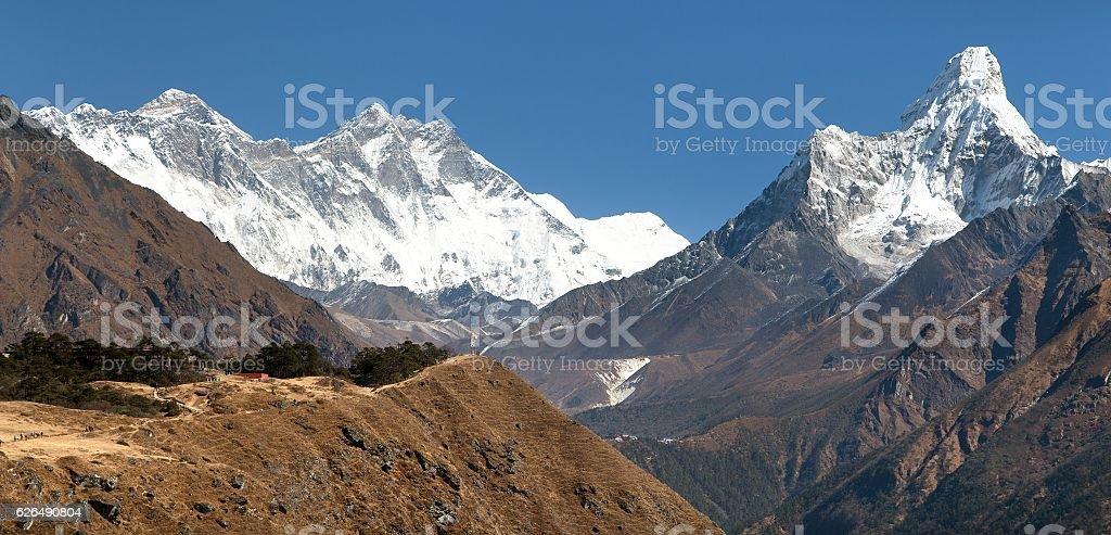 Ama Dablam, Mount Everest and Lhotse stock photo