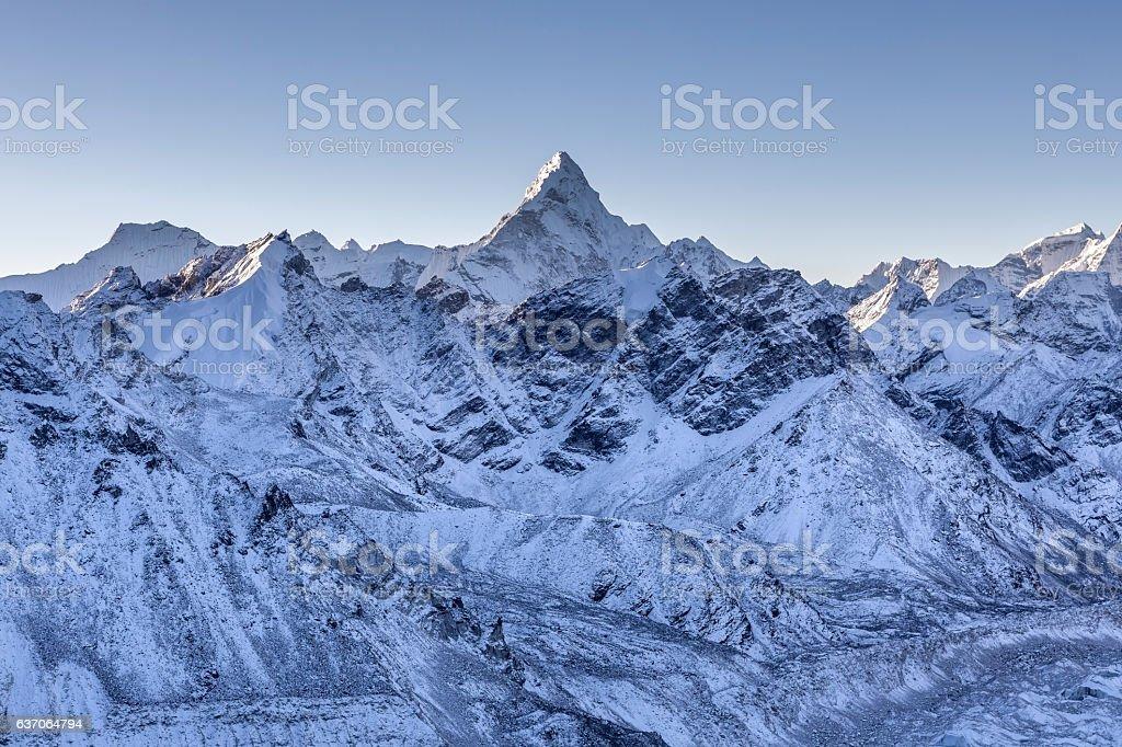 Ama Dablam mountain landscape. stock photo