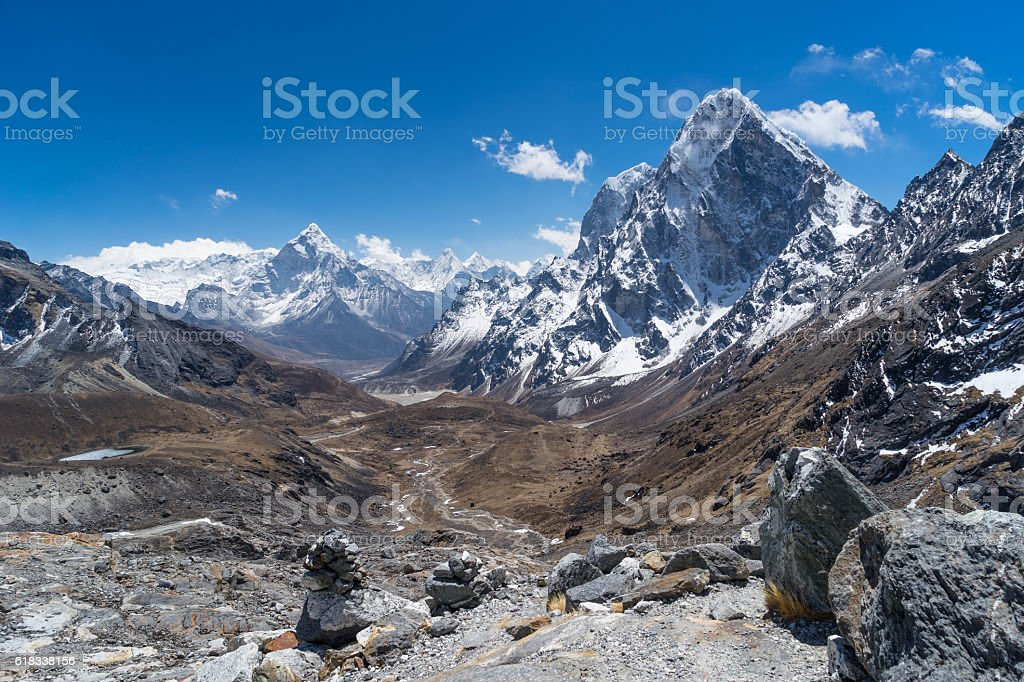 Ama Dablam mountain peak at Chola pass, Everest region stock photo