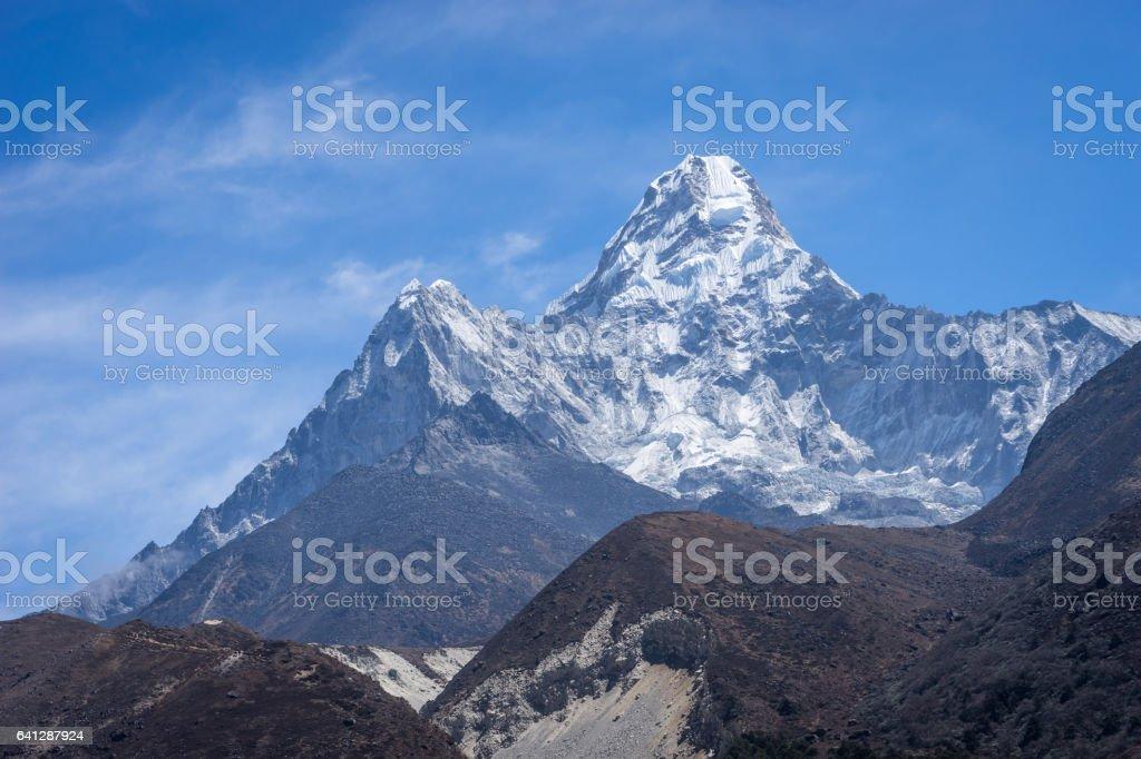 Ama Dablam mountain peak at Pangboche village, Everest region, Nepal stock photo