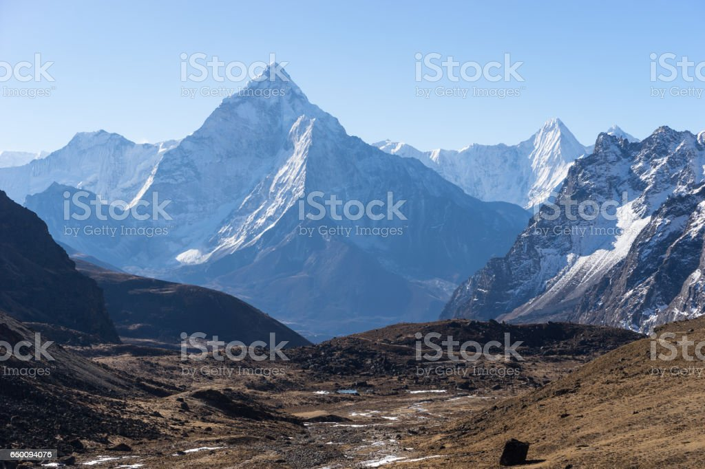 Ama Dablam mountain peak in a morning, Everest region, Nepal stock photo