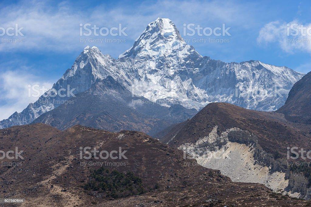Ama Dablam mountain peak view stock photo