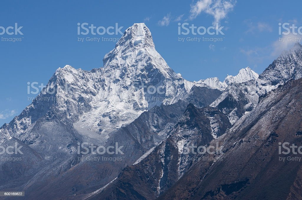 Ama Dablam mountain view, Namche Bazaar stock photo
